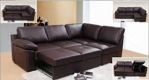Fibre Filled Sofa Cushions Form Corner Leather Sofa 3 Seater Pull Out Bed Chaise Brown Color