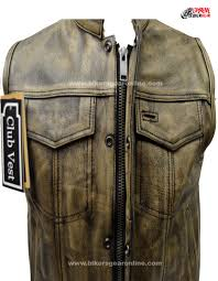 genuine leather motorcycle jacket men u0027s distressed brown leather motorcycle club vest extreme