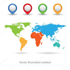World Map Icon by Map With Point Color Icon U2014 Stock Vector 4zeva 93318858