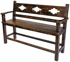 Southwest Outdoor Furniture by Rustic Old Wood Tall Bench With Southwest Design Cut Out