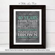 year anniversary gift 40th anniversary gift for parents 40 year anniversary 40th wedding