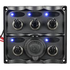 marine 5 led toggle switch panel power socket waterproof for