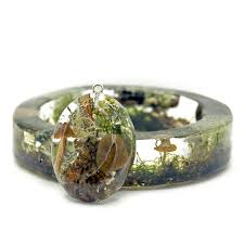 terrarium jewelry made with genuine forest moss lichen sticks