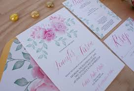 pink wedding invitations pink peony watercolor wedding invitation bohemian mint