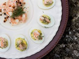 deviled eggs with pickled shrimp recipe bobby flay food wine