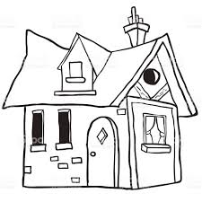 simple black and white cute little house stock vector art