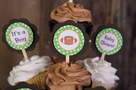 football themed baby shower items similar to football theme cupcake toppers baby shower