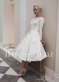ivory satin long sleeve tea length lace decorated vintage wedding