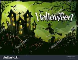 halloween picture background halloween background witch flying castle cemetery stock vector