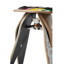 skateboard stool skate truck wheeles artwork scratch deck skateboard stool 3 thumbnail