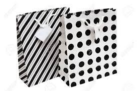 black and white striped gift bags black and white striped and polka dot paper gift bag stock photo