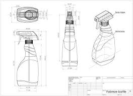 drawn bottle oblique pencil and in color drawn bottle oblique