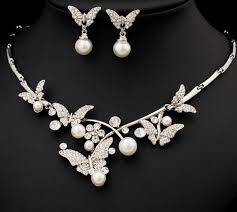 pearls necklace sets images Pearl jewelry set with pearl and crystal necklace and earrings jpg