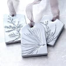 ceramic ornaments with plant impression