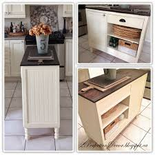 remodelaholic upcycled vintage desk into kitchen island with storage beadboard kitchen island with open shelves and plank wood top perfection decor featured