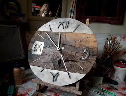 big wall clock wood and metal industrial clock oak wrought iron