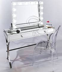Glass Vanity Table Professional Hollywood Makeup Mirror With Led Lights Niches