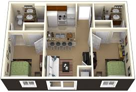 apartment rectangular 2 bedroom apartments plan using queen sized