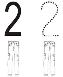 learn number 2 with two pants colouring page happy colouring