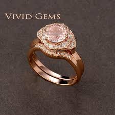 morganite bridal set 1 25 carat pink morganite bridal set gold flower engagement