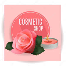 Shop Invitation Card Cosmetic Shop With Candle And Rose Template For Cosmetic Shop