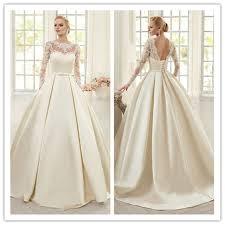 robe de mari e satin élégant ivoire dentelle robes de mariée manches longues doux de