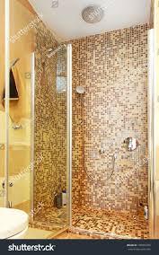shower cabin mosaic tiles glass door stock photo 190055783