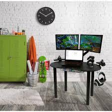 atlantic furniture gaming desk black carbon fiber eclipse black gaming desk 82050334 the home depot