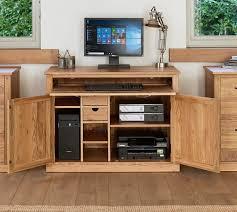 wrap around computer desk hidden office desk baumhaus mobel oak hidden home office desk