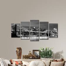 Artwork For Dining Room Amazon Com Wieco Art Broooklyn Bridge Night View 5 Panels