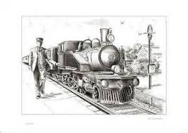 steam train 2 railway station locomotive drawing old steam train