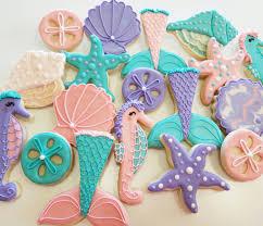 seashell shaped cookies seashell cookies mermaid cookies mermaid party sandollar