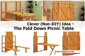 Folding Picnic Table Instructions by Clever Non Diy Idea The Fold Down Picnic Table