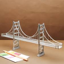 handmade stainless steel building model of the golden gate bridge