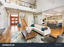 Loft Style Living Room Beautiful Large Living Room Interior Hardwood Stock Photo