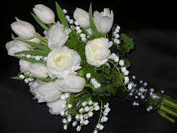 of the valley bouquet vintage garden bridal bouquet of white ranunculus tulips and