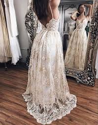 white lace prom dress chagne lace prom dress backless lace evening dress