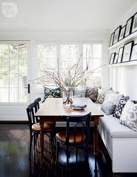 Dining Table With Banquette White Kitchen Banquette Blue Gray Pattern Cushions Square Dining