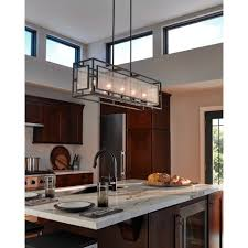 luminaire pour ilot de cuisine suspendu de forme rectangle en métal couleur zinc verre bullé