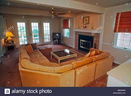 american architecture inside suburban house living room stock