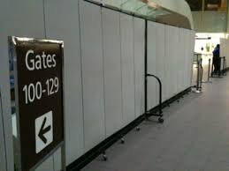 Rolling Room Dividers by Using Temporary Walls For Airport Security Screenflex