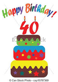 clip art vector of birthday card for fortieth csp15787369