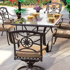 Glass Top Patio Table And Chairs Darlee Ten 7 Cast Aluminum Patio Dining Set Glass Top Table