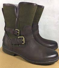 ugg australia womens emalie brown stout leather ankle boot 7 ebay ugg australia emalie 1008017 midtop fashion waterproof wedge