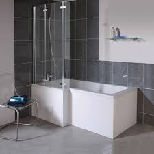 milan shower bath 1700mm l shaped with double hinged screen