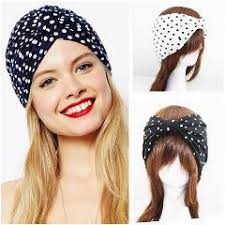hair bands for women aho490 12 supernova black white dot wide cotton knot turban