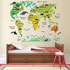 Nursery Wall Decal Eveshine Animal World Map Peel Stick Nursery Wall Decals