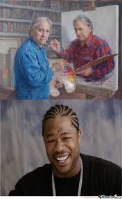 Meme Painting - a guy painting himself that is painting himself by kickassia meme