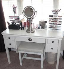 Acrylic Vanity Table Bedroom Makeup Vanity Set With Drawers And Leather Stool Also