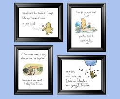 classic winnie the pooh quotes set of 4 digital 5x7 prints